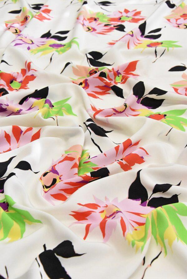 Крепдешин шелк коралловые цветы на белом (4812) - Фото 10