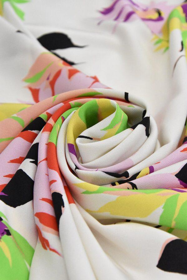 Крепдешин шелк коралловые цветы на белом (4812) - Фото 8