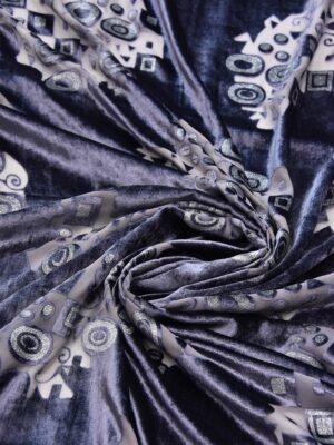 Бархат Деворе темно-сиреневый с геометрическим рисунком (5380) - Фото 16
