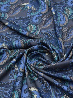 Шерсть плательная серая с голубым и синим пейсли (5508) - Фото 14