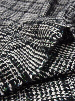 Твид в черно-белую клетку с зелеными вкраплениями (5527) - Фото 11