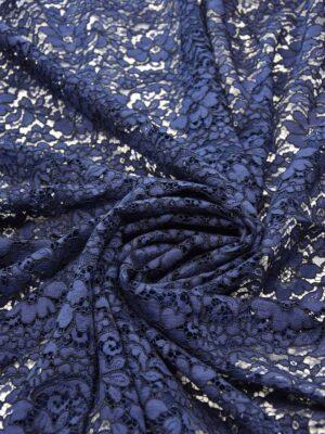 Кружево стрейч темно-синее сутажное с цветами (5599) - Фото 12
