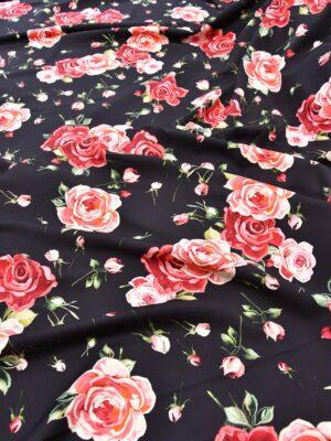 Плательная шерсть стрейч розы на черном (5624) - Фото 22