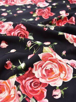 Плательная шерсть стрейч розы на черном (5624) - Фото 23