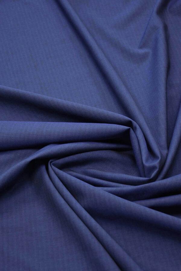 Костюмная шерсть темно-синяя узкая полоска (5679) - Фото 9