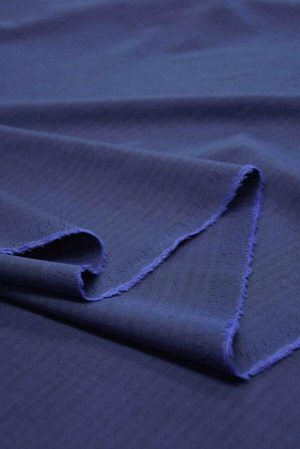 Костюмная шерсть темно-синяя узкая полоска (5679) - Фото 7