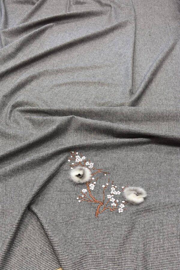 Костюмная шерсть в гусиную лапку с вышивкой меховые цветы стразы (5727) - Фото 6