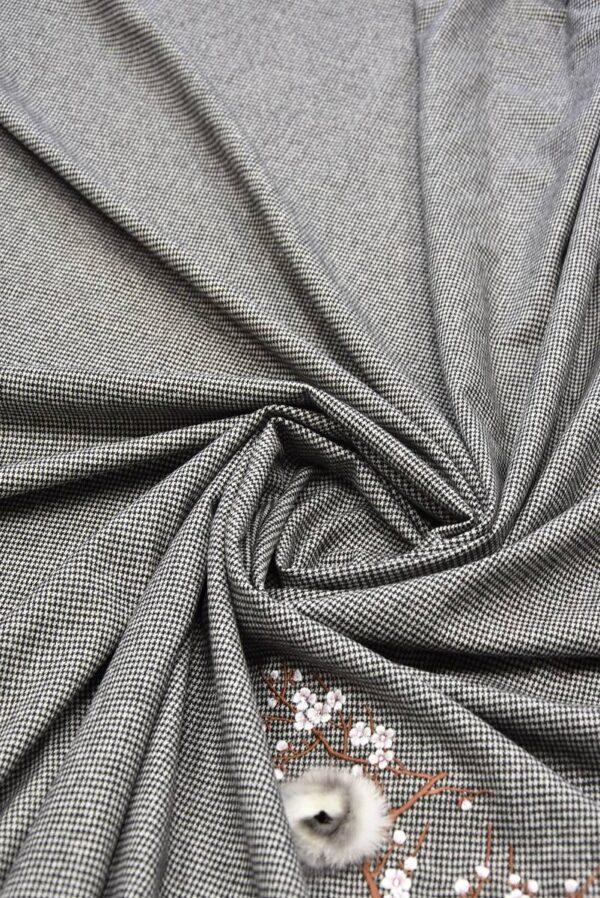 Костюмная шерсть в гусиную лапку с вышивкой меховые цветы стразы (5727) - Фото 8
