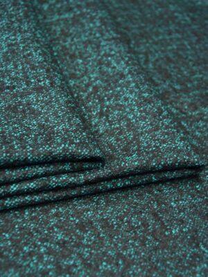 Твид костюмный стрейч зеленый с черныйм пестрый (5790) - Фото 13