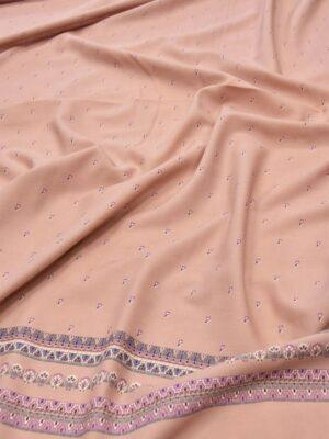 Плательная шерсть пыльная роза в мелкий цветочек с каймой (5918) - Фото 28