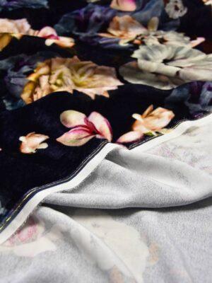 Бархат шелковый цветы на темно-синем фоне (5964) - Фото 13