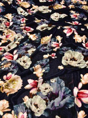 Бархат шелковый цветы на темно-синем фоне (5964) - Фото 12