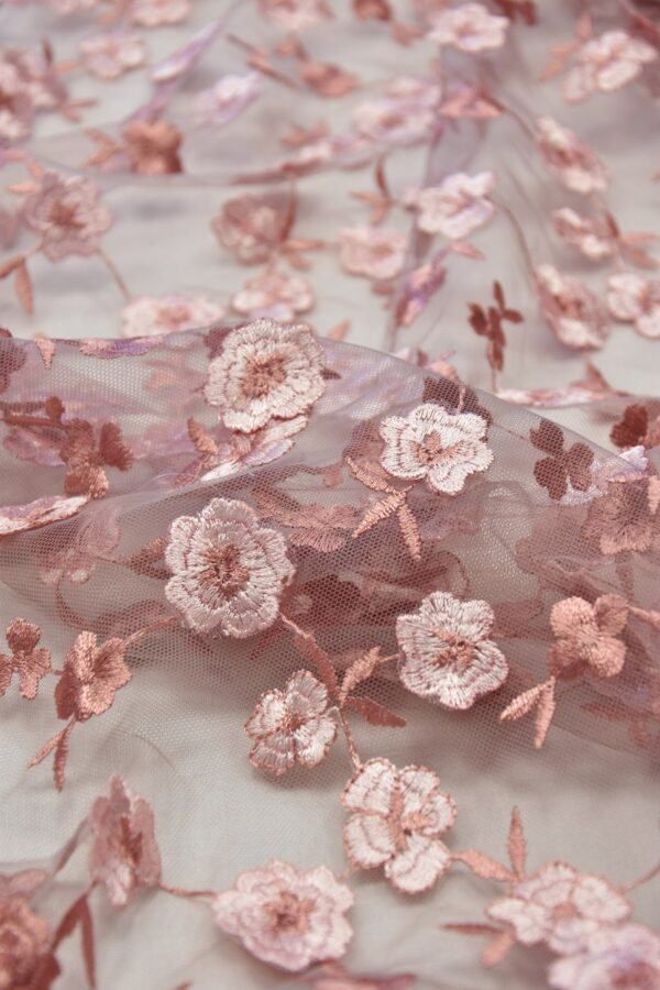 Кружево пыльно-розовое с 3D цветочками (6054) - Фото 7
