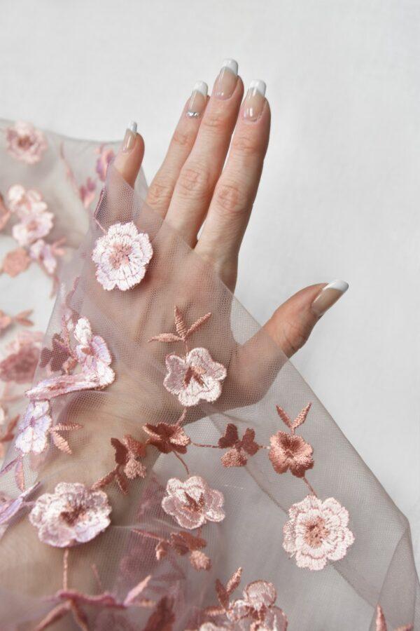 Кружево пыльно-розовое с 3D цветочками (6054) - Фото 10