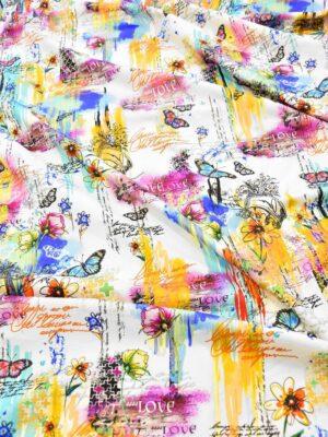 Сатин стрейч коллаж цветы бабочки надписи (6101) - Фото 16