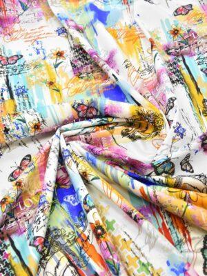 Сатин стрейч коллаж цветы бабочки надписи (6101) - Фото 17