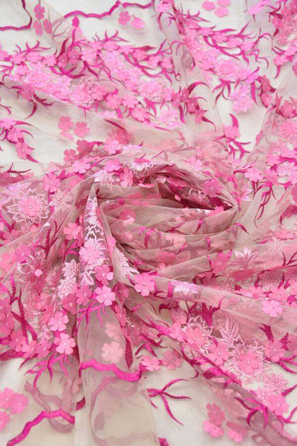 Кружево 3D вышивка цветочки в оттенках розового и фуксии (6125) - Фото 9