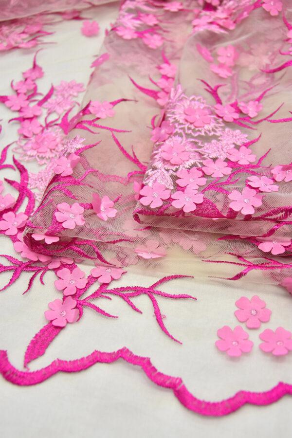 Кружево 3D вышивка цветочки в оттенках розового и фуксии (6125) - Фото 8