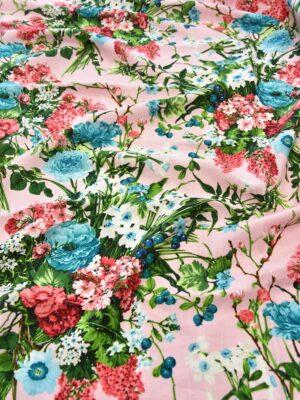 Лен розовый с букетами цветов (6172) - Фото 12