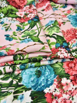 Лен розовый с букетами цветов (6172) - Фото 13