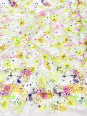 Батист с вышивкой филькупе салатовые цветы на белом (6270) - Фото 18
