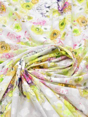 Батист с вышивкой филькупе салатовые цветы на белом (6270) - Фото 19