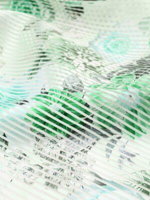 Органза в полоску мятная с зелеными цветами (6328) - Фото 20