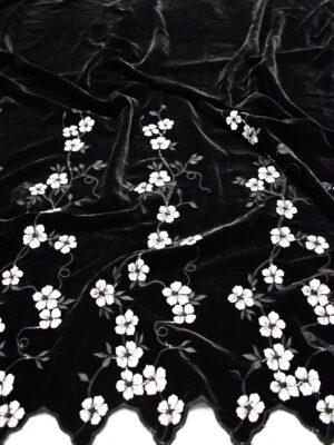 Бархат шелковый с вышивкой черный с белыми цветами (6783) - Фото 14