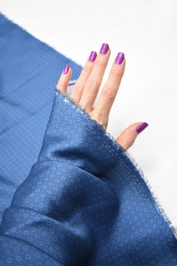 Твил голубой в мелкий ромб (6852) - Фото 10