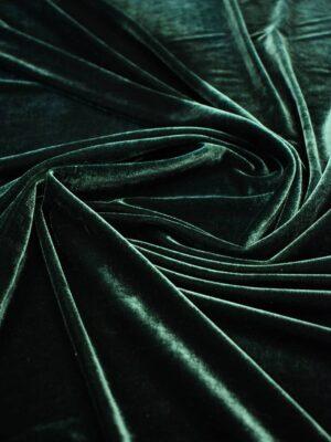 Бархат стрейч темно-зеленый оттенок (6928) - Фото 16