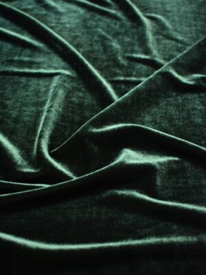 Бархат стрейч темно-зеленый оттенок (6928) - Фото 15