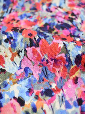 Рогожка акварельные цветы в красных и синих тонах (6933) - Фото 18