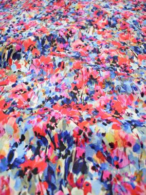 Рогожка акварельные цветы в красных и синих тонах (6933) - Фото 17