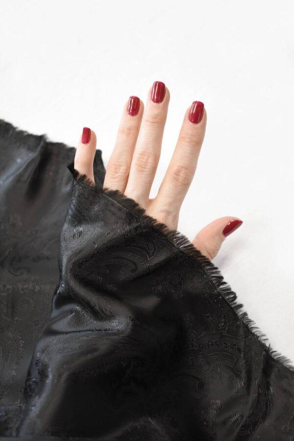 Подклад черный с жаккардовым узором пейсли (7302) - Фото 7