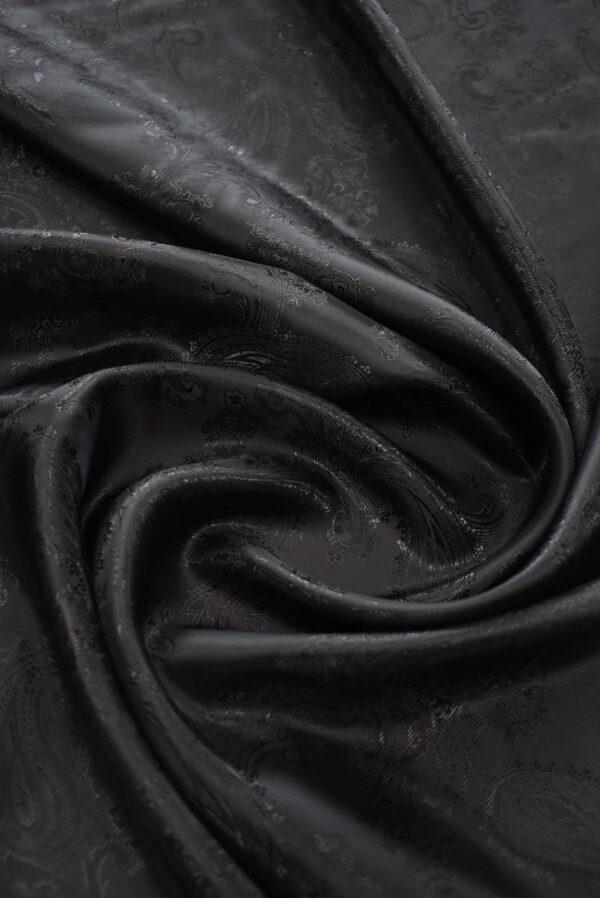 Подклад черный с жаккардовым узором пейсли (7302) - Фото 9