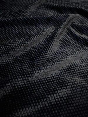 Бархат черный фактурный с шелковой подкладкой (7473) - Фото 16
