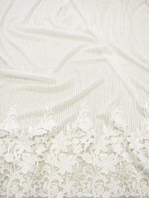 Кружево белое с цветочной каймой и вертикальной полоской (7552) - Фото 18
