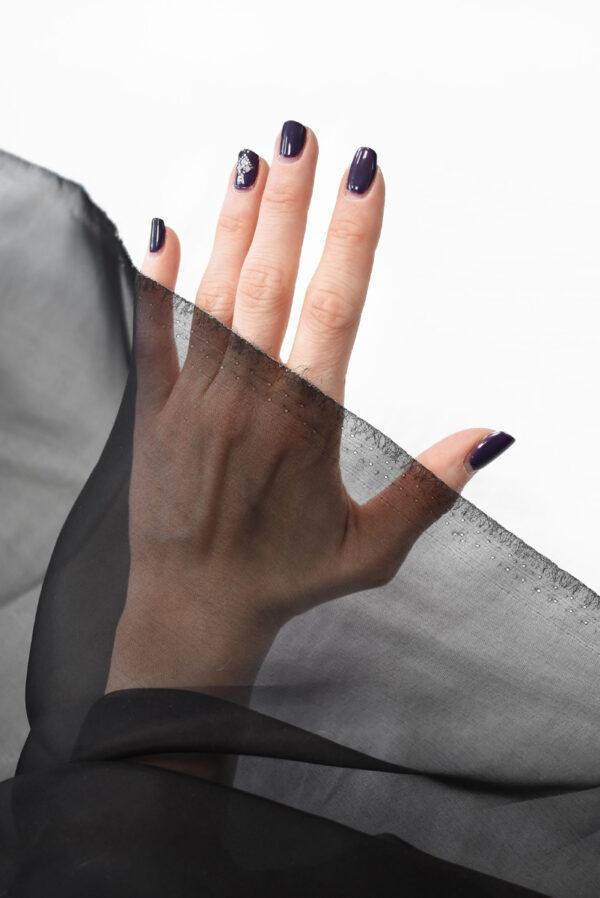 Органза шелковая черная (7758) - Фото 7