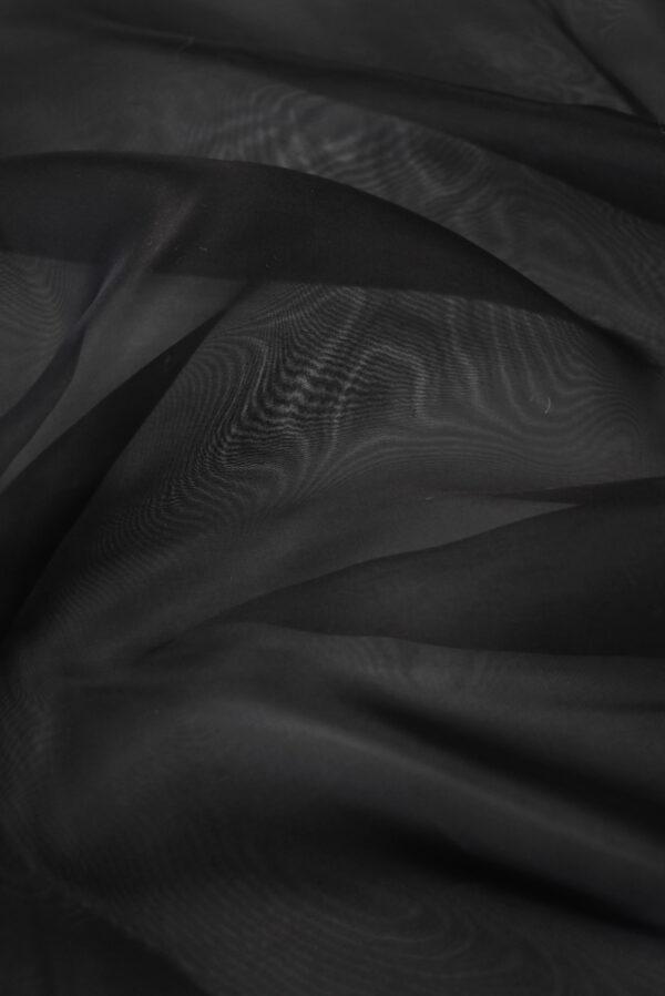 Органза шелковая черная (7758) - Фото 6