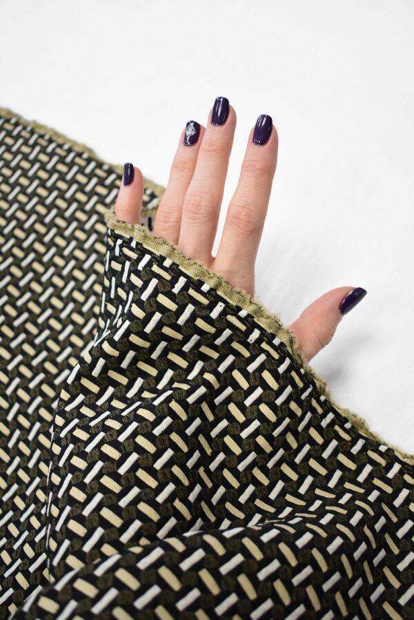Жаккард стрейч с мелкой геометрией беж/черный (7843) - Фото 7