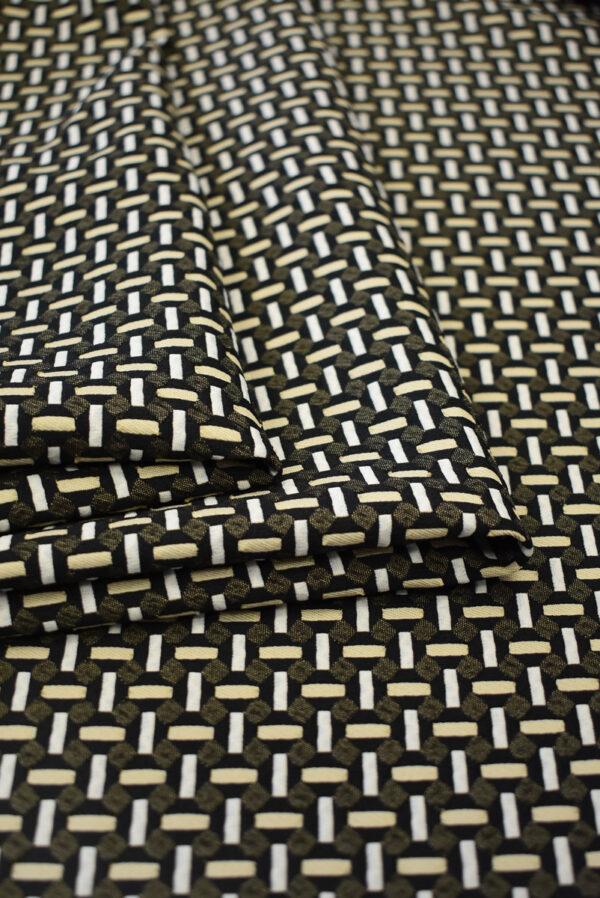 Жаккард стрейч с мелкой геометрией беж/черный (7843) - Фото 9
