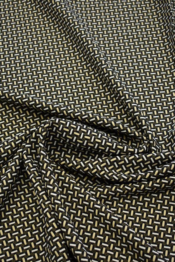Жаккард стрейч с мелкой геометрией беж/черный (7843) - Фото 10