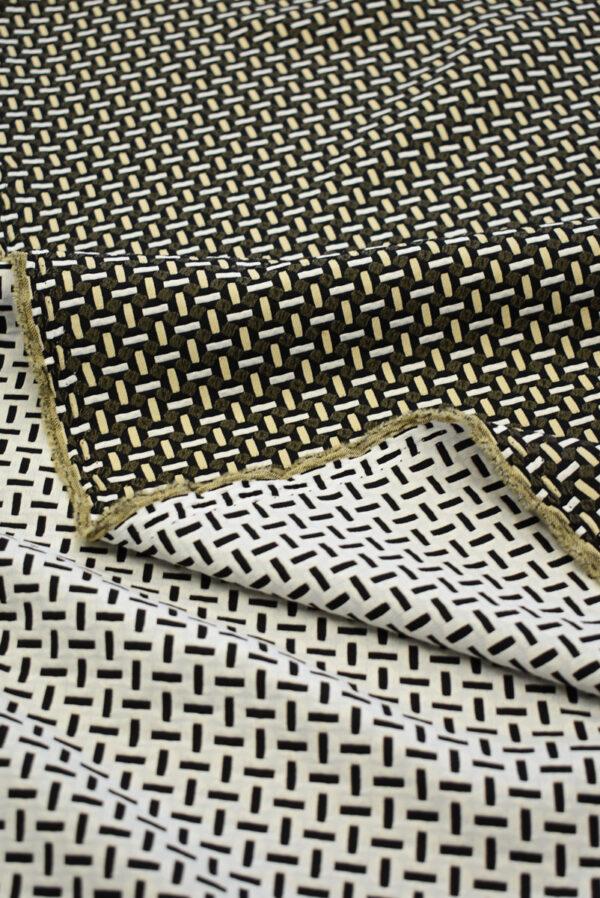 Жаккард стрейч с мелкой геометрией беж/черный (7843) - Фото 8
