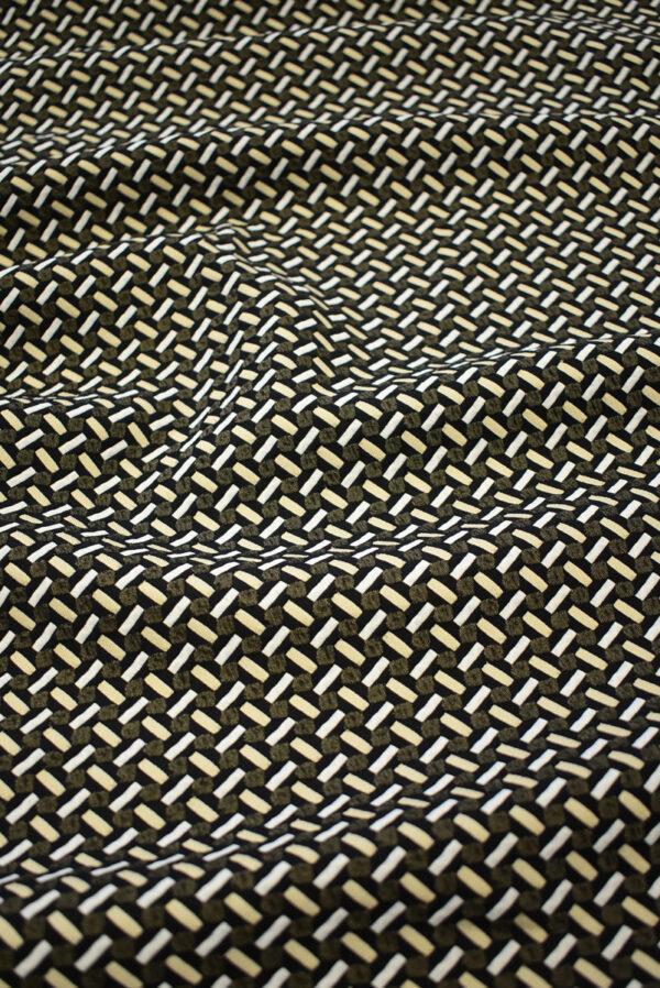Жаккард стрейч с мелкой геометрией беж/черный (7843) - Фото 6