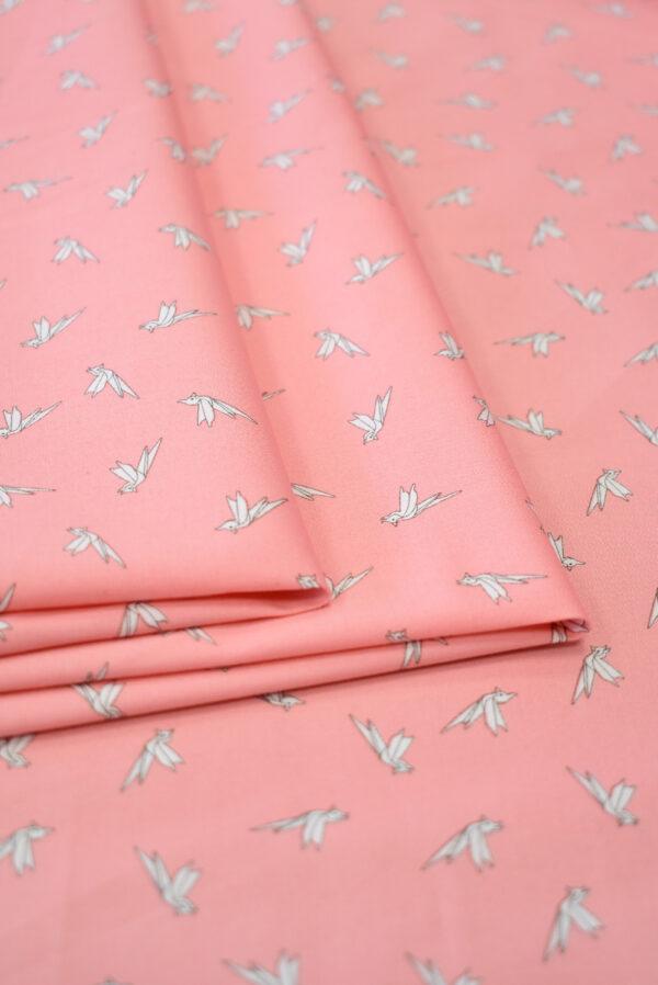 Хлопок стрейч оригами на розовом фоне (7861) - Фото 10