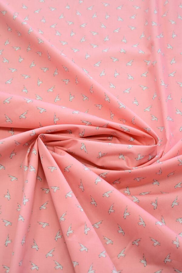 Хлопок стрейч оригами на розовом фоне (7861) - Фото 7