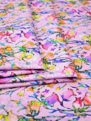 Хлопок пике стрейч розовый в мелкий цветочек (7885) - Фото 15