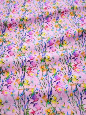Хлопок пике стрейч розовый в мелкий цветочек (7885) - Фото 14