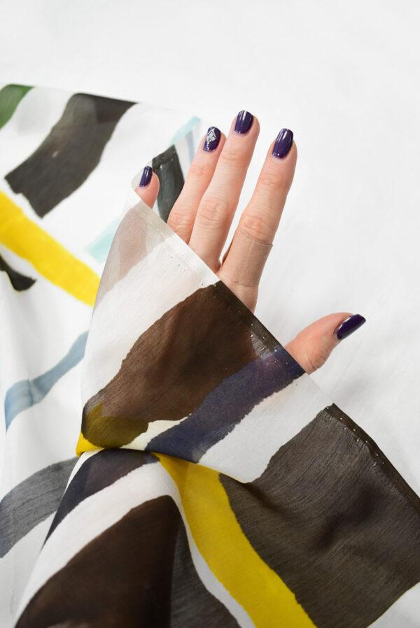 Батист с разноцветными полосами на белом фоне (7911) - Фото 10