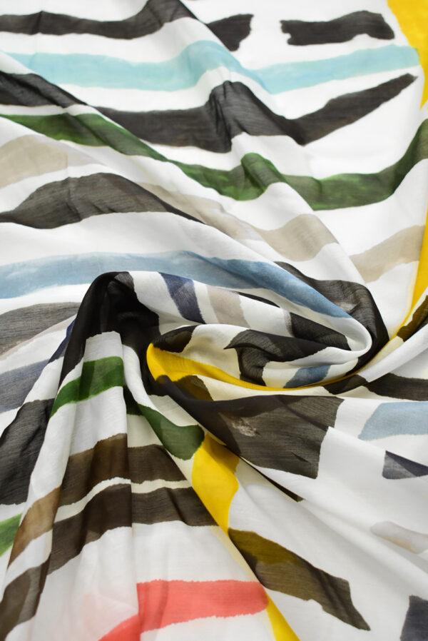 Батист с разноцветными полосами на белом фоне (7911) - Фото 8